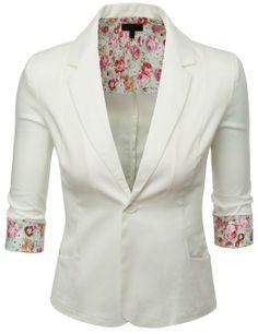 Doublju Women Simple Tailored Boyfriend Blazer Suit Jacket at Amazon Women's Clothing store