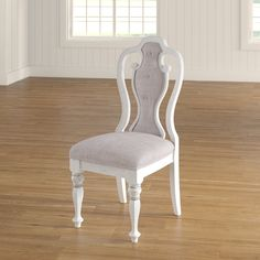 Wood Dining Chair with Chenille Upholstery and Carved Column Legs - Dining Chair with Queen Anne Back - Set of 2 - Antique White Solid Wood Dining Chairs, Upholstered Dining Chairs, Dining Chair Set, Table And Chairs, Side Chairs, Dining Table, Dining Room, Chair Design Wooden, Light Oak