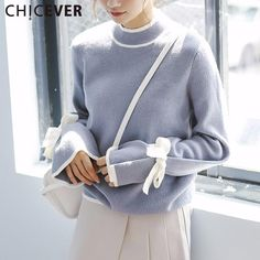 Knitting Pullovers Female Sweater For Women Top Long Sleeve Cuff Bandage Autumn Sweater Jumper Clothes