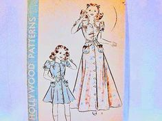 1940s Girls Dress Pattern Hollywood Girl Size 8 One piece Dress and Housecoat Vintage Sewing Pattern by PatternsFromThePast