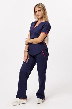 Lupe poly petroleo con naranja – oh! Spa Uniform, Scrubs Uniform, Stylish Scrubs, Beauty Uniforms, Scrubs Outfit, Iranian Women Fashion, Medical Uniforms, Professional Wear, Medical Scrubs
