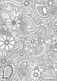 * Paisley Blooms * An intricate and super duper detailed illustration. Hand drawn by myself, coloured by YOU! Buy it Coloring Pages For Grown Ups, Free Adult Coloring, Adult Coloring Book Pages, Free Coloring Pages, Printable Coloring, Colouring Pics, Coloring Sheets, Coloring Books, Paisley Doodle
