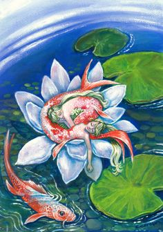 Koi Mermaids asleep inside a lotus flower,Pisces, zodiac art print,girl's room, fantasy, wall decor...