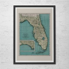 Hey, I found this really awesome Etsy listing at https://www.etsy.com/listing/249874679/florida-map-print-vintage-map-of-florida