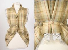 jacket/vest redo - pull backward, pleat with buttons.