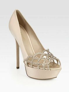 Sergio Rossi Crystal-Coated Satin & Suede Platform Pumps