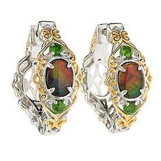 """Gems en Vogue 1"""" Ammolite & Chrome Diopside Hoop Earrings w/ Clicker Backs - 145-893 Retail Value: $605.50 EVINE Price: $497.50 Clearance Price: $ 323.36 Save: $174.14 (35% off) or  6 ValuePay®: $53.89 Shipping & Handling: $2.99 Gems en Vogue 1"""" Ammolite & Chrome Diopside Hoop Earrings w/ Clicker Backs"""