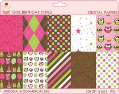 girly digital papers birthday party - Girl Birthday Owls Digital Papers