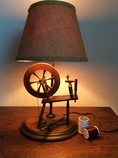Spinning wheel Lamp-Burlap type Shade -Brown-Mid Century lighting-Vintage 1960's retro home lighting-retro cottage chic-sewing room decor by VintageTreasuresRus on Etsy