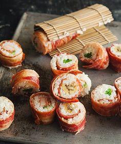 Bacon-Wrapped Sushi  wayyyyy better than seaweed