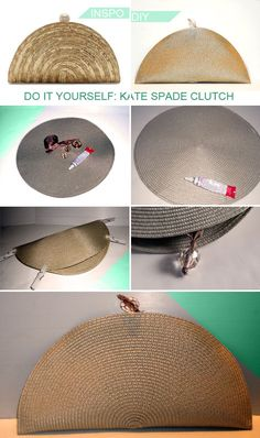 Kate Spaten Clutch DIY Kate Spaten Clutch,DIY Kate Spaten Clutch, Make your own purse with minimal sewing! This fun evening purse is so easy to sew from a placemat or simply a round piece of fabric! Diy Clutch, Diy Purse, Clutch Bag, Envelope Clutch, Diy Fashion Bags, Pochette Diy, Trash To Couture, Kate Spade Clutch, Diy Sac