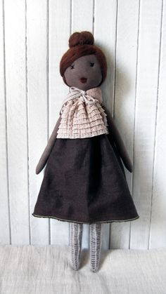 Cloth doll, Rag doll, handmade, retro, one of a kind/ Nola. $120.00, via Etsy.