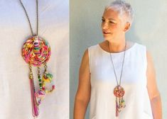Dreamcatcher Necklace, Boho Jewelry, Hippie Style, OOAK Colorful Necklace, Festival Jewelry, Long Fringe Necklace, Unique Fabric Necklace This eye-catching piece of jewelry is a beautiful OOAK and unique dream catcher necklace that made of fabric, pendant, and charms that you will not see #hippiejewelry