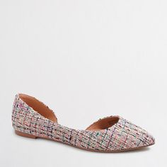 J.Crew+Factory+-+Factory+mixed+tweed+classic+d'Orsay+flats