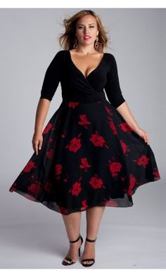 254d63b9cc34 IGIGI by Yuliya Raquel Isadora Plus Size Dress In Black and Red Nadměrné  Oděvy