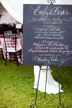 another chalkboard wedding menu.. can't get enough of these..