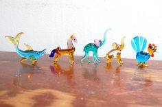 Vintage Murano Art Hand Blown Glass Animal Figurines (set of that chicken!