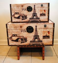 Paris brown and cream two tier suitcase by riggsartsandcrafts, $150.00