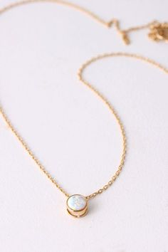 6mm Tiny Floating Opal Necklace Gold in Sterling Silver Opal Necklace | kellin - Jewelry on ArtFire