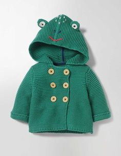 Your bouncing baby boy can be a playful leaping frog or other cuddly creature in this knitted jacket. Crafted from soft merino wool, it's super cosy on cooler days, with smart buttons and fun details like 3D eyes. And because it's machine washable, it's practical too.