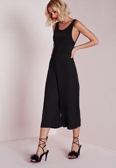 Missguided - Low Side Culotte Jumpsuit Black