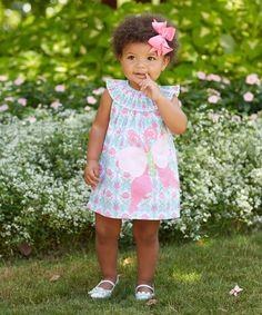 Blue Butterfly Smocked Angel-Sleeve Dress - Infant Toddler & Girls
