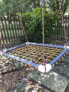 DIY Platform Swing Tutorial – The DIY Village – desinghandmade Yard Swing, Diy Swing, Outdoor Fun, Outdoor Chairs, Outdoor Decor, Outdoor Swings, Backyard For Kids, Diy For Kids, Sensory Swing
