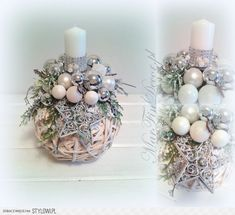Christmas Ornament Crafts, Christmas Candles, Christmas Centerpieces, Xmas Decorations, Holiday Crafts, Christmas Wreaths, Christmas Flower Arrangements, Theme Noel, Diy And Crafts