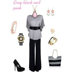Gray black and pink, created by karol-dickmann on Polyvore