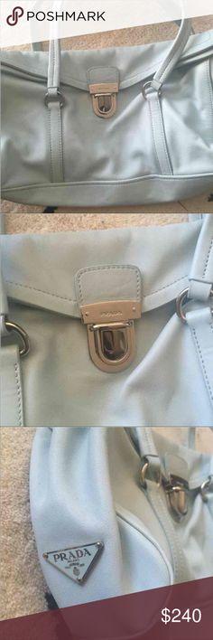 Prada Handbag Soft Leather in powder Blue Color. Silver Hardware. Great Condition. Hardly used. Prada Bags Shoulder Bags