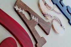 Vintage Varsity Sports Themed Hand Painted Personalized Wooden Letters for kids room, doesn't look hard for a DIY Baby Boy Rooms, Baby Boy Nurseries, Nursery Boy, Wooden Letters For Nursery, Painted Letters, Giant Letters, Wood Letters, My New Room, Decoration
