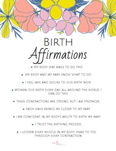 Pregnancy Affirmations, Birth Affirmations, Positive Affirmations, Giving Birth Quotes, Spiritual Midwifery, Cute Baby Announcements, Baby Life Hacks, Baby Messages, Natural Childbirth
