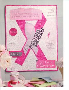 Quilt Pattern Pink Ribbon Pieced Applique | eBay