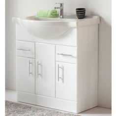 NEVADA Freestanding White Basin Vanity Unit - 850mm Freestanding Vanity Unit, Basin Vanity Unit, Vanity Units, Bathroom Basin Cabinet, Big Bathrooms, Nevada, Storage Spaces, The Unit