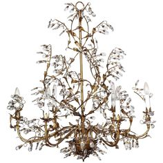 Vintage French Large Bronze and Glass Chandelier, c. 1940 | From a unique collection of antique and modern chandeliers and pendants at https://www.1stdibs.com/furniture/lighting/chandeliers-pendant-lights/