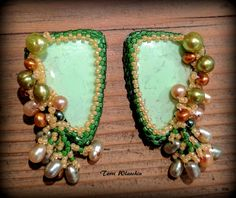 Bead embroidered earrings with cultured pearls