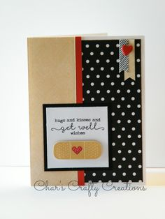 "CTMH Get Well card by Char's Crafty Creations using the ""Kiss it Better"" stamp set and La Vie en Rose and Charlotte paper packs"