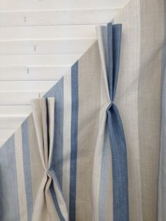 A pinch pleat was decided upon as the best method for these gorgeous #curtains, with the pleats stitched in them so the fabric stays dressed in its 'striped' folds better   Oceanair