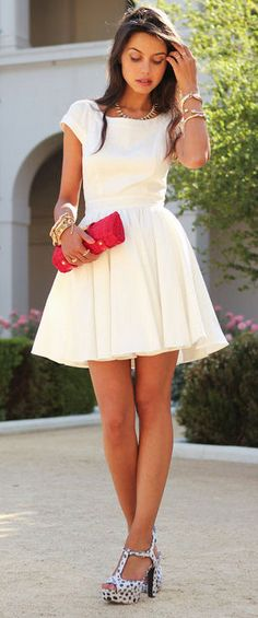 CutOut Back Little White Skater Dress ❤︎ #lwd *dont care for the shoes though