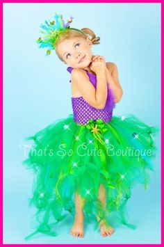 Ariel Inspired Little Mermaid Tutu Dress- color combo and head gear (as well as whirly twirly tutu skirt) might work for the half marathon