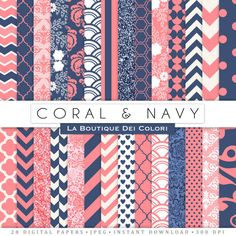 Coral and Navy Digital Paper Pack. Digital peach and bluel paper, wedding digital paper patterns, Instant Download for Commercial Use. Ideal