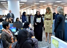Melania Trump wearing a Ralph Lauren Collection Safari Shirt-Dress & Striped Pumps at the GE All-Women's Business Process Services, IT Center in Riyadh, Saudi Arabia.