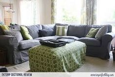 Related image Living Room Redo, Cozy Living, Ektorp Sectional, Family Room Sectional, Two Couches, Green Lounge, Ikea Couch, Great Rooms, New Homes