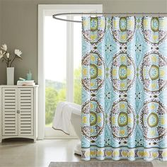 The Samara Printed Shower Curtain from Madison Park brings a taste of Indonesia into your bathroom. Featuring dusty shades of green, teal, brown and yellow, this beautiful medallion motif repeats in three rows and is finished with a beautiful border. Samara, Curtains Kohls, Aqua Bedding, Girl Bathrooms, Shower Liner, Bathroom Styling, Bathroom Ideas, Bathroom Shower Curtains, Home And Living