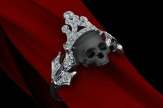 Diamond and black skull ring