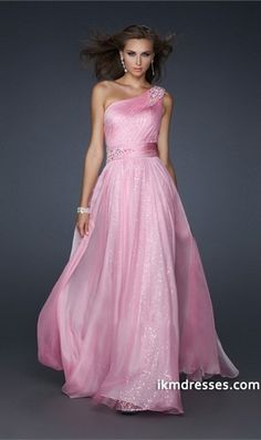 2015 Collection Cheap Floor Length One Shoulder Chiffon Evening Dresses
