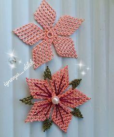 """Dilek on Instagram: """"Hayırlı günler arkadaşlar. Yakın çekim isteyenler için gelsin😊💐 . . .  #çiçek #tasarım #saudiarabia  #igneoyasi  #elsanatlari  #instalike…"""" Rose Embroidery, Modern Embroidery, Embroidery Patterns, Stitch Patterns, Baby Knitting Patterns, Crochet Patterns, Moss Stitch, Filet Crochet, Needle Lace"""