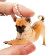 Realistic Chihuahua Puppy Dog in Playful Pose Shaped Pendant Necklace | Handmade $15.50 #puppies #dogs #animals #jewelry #necklaces