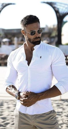Handsome Men Quotes, Handsome Arab Men, Stylish Men, Men Casual, Casual Styles, Mode Swag, Patchy Beard, White Shirt Outfits, Best Beard Styles