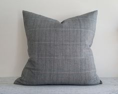 Mens Wear Style Pillows Grey Blue Ped Plaid by PillowThrowDecor